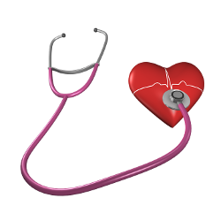 benefits of exercise - a healthy heart [image of heart with stethoscope on it]